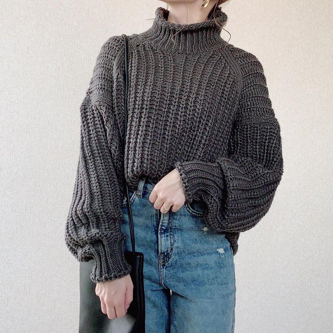 リブニット ハイネック セーター h&m